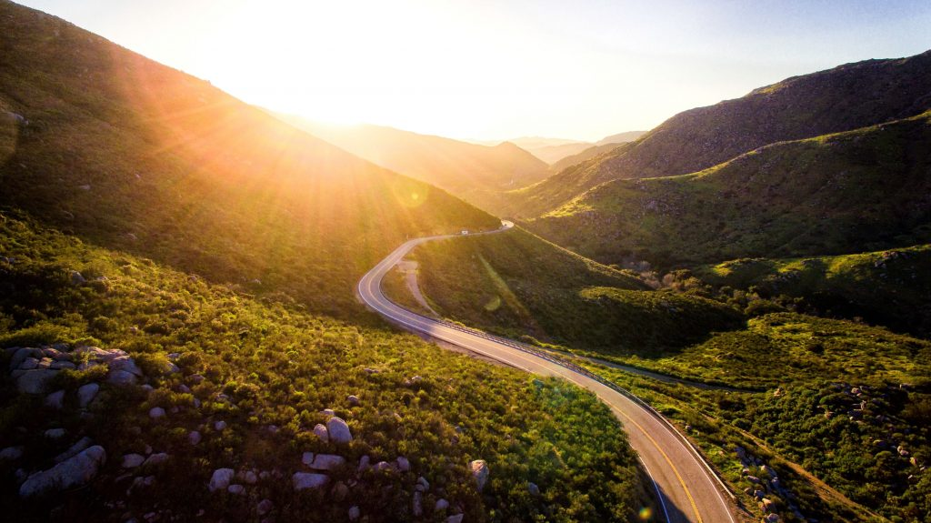 A winding mountain road.