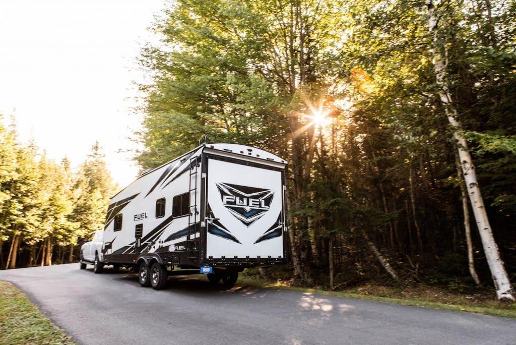 2019 Heartland Fuel Rv on the road.