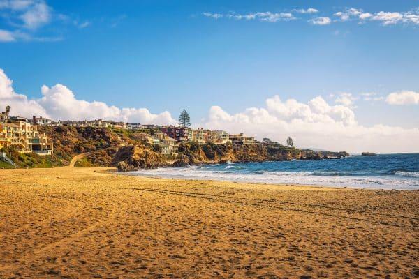 Luxury homes above Corona Del Mar State Beach in California