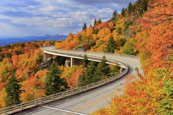 Autumn foliage along the Linn Cove Viaduct, Blue Ridge Parkway, North Carolina