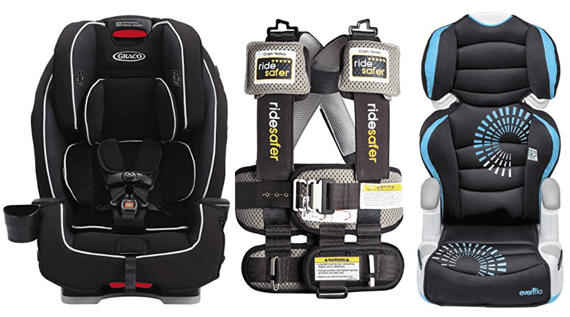 Front-Facing car seat, travel vest, and booster options for RV trips