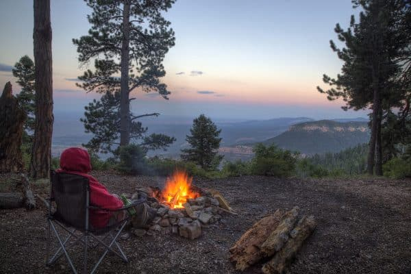 A campfire brings warmth to a camper overlooking Grand Canyon National Park from Kaibab National Forest, Arizona (A campfire brings warmth to a camper overlooking Grand Canyon National Park from Kaibab National Forest, Arizona, ASCII, 113 components,