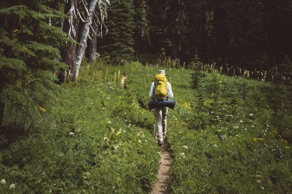 backpacker hiking in the wilderness