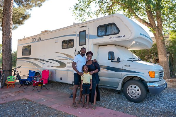 The Mom Trotter and family outside of thier Class C RV