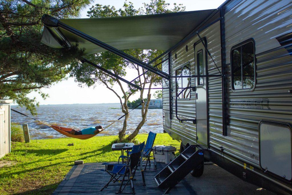 Virginia Beach campsite with hammock and RV
