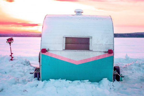 Ice house parked on a frozen Mille Lacs lake